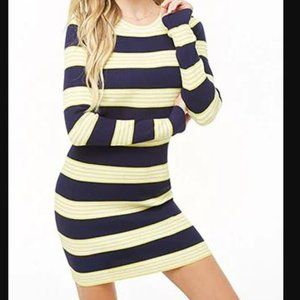 NWT Forever 21 Navy/Citron Striped Knit Dress